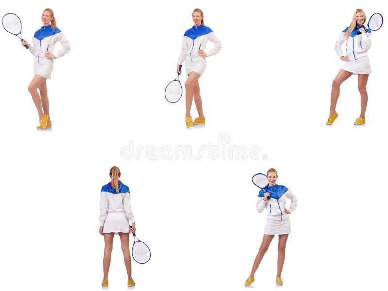 Jeune belle dame jouant au tennis d'isolement sur le blanc photographie stock