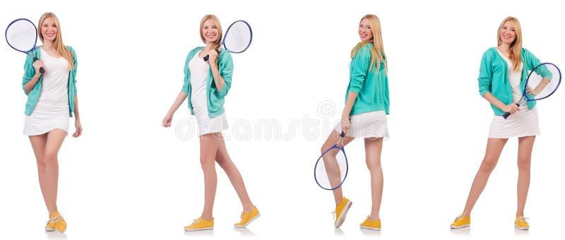 Jeune belle dame jouant au tennis d'isolement sur le blanc photo libre de droits