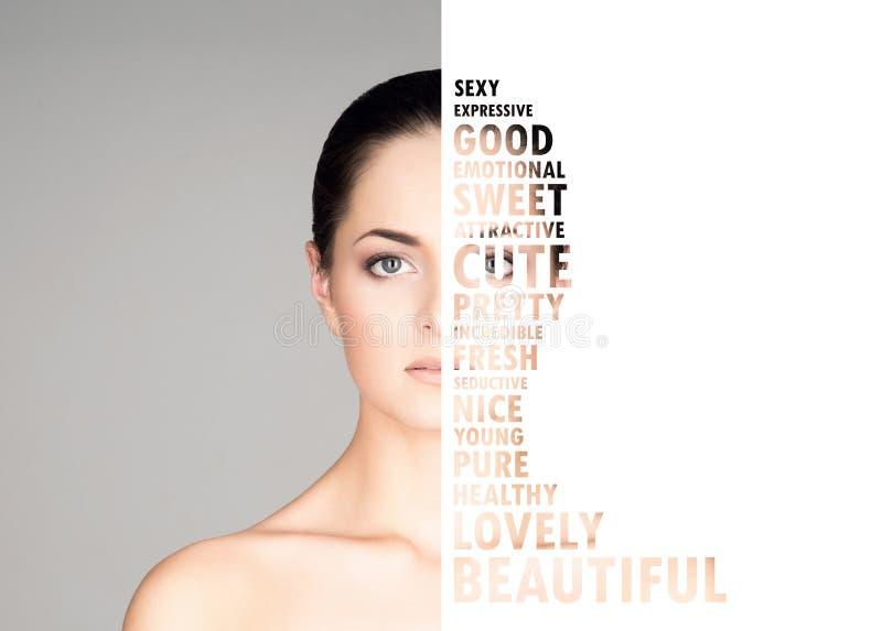 Jeune, belle et fraîche femme dans le concept de chirurgie plastique et de médecine photographie stock