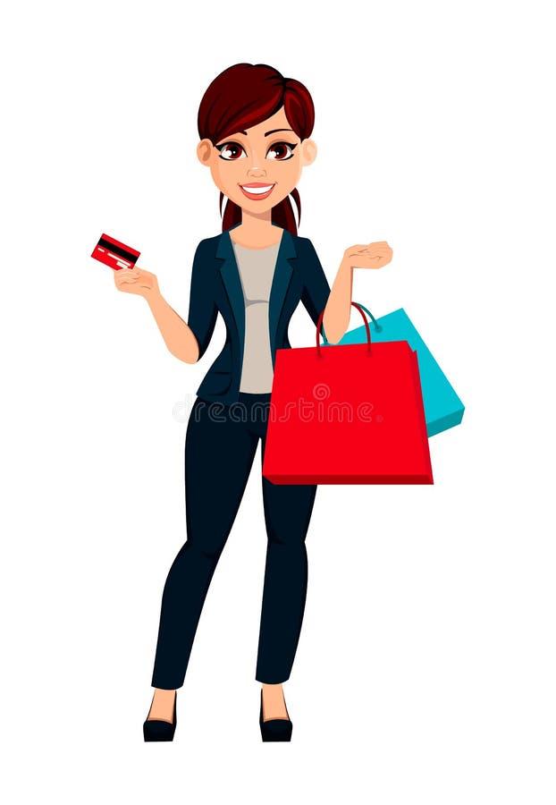 Jeune belle femme d'affaires tenant la carte de crédit et les sacs à provisions illustration stock