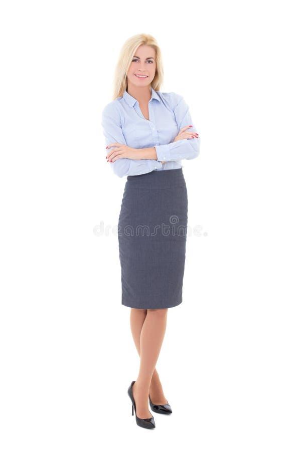Jeune belle femme dans le costume d'isolement sur le blanc photographie stock libre de droits