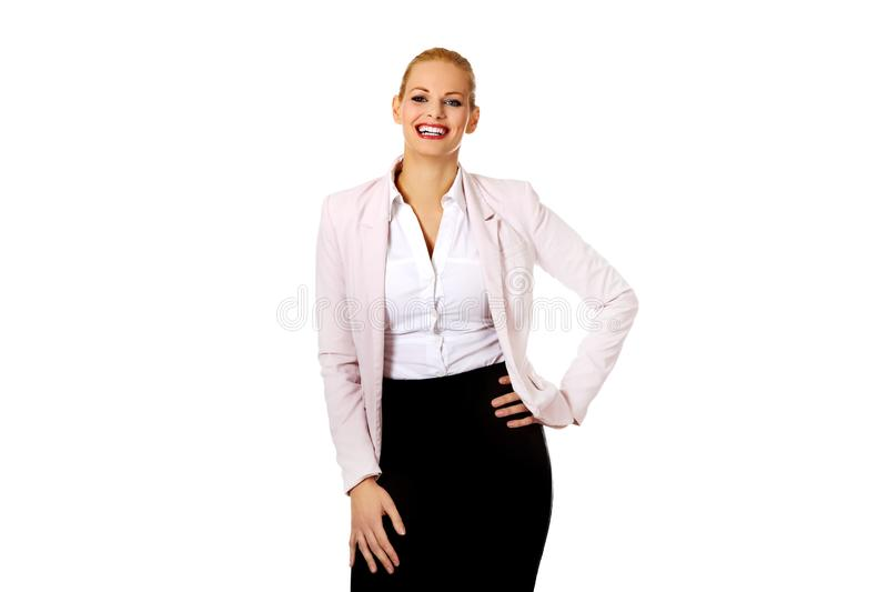 Jeune belle femme de sourire élégante d'affaires photos libres de droits