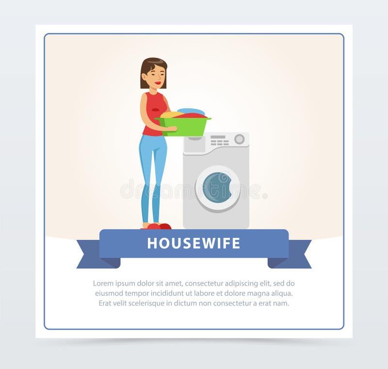 Jeune belle femme faisant la blanchisserie, l'élément plat de vecteur de bannière de femme au foyer pour le site Web ou l'APP mob illustration de vecteur