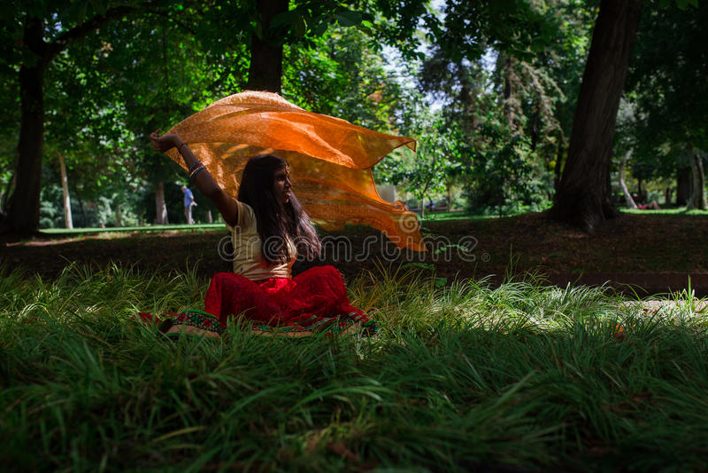 Jeune belle femme indienne traditionnelle en nature photo stock