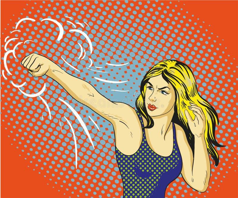 Jeune belle femme poinçonnant et enfermant dans une boîte Affiche de vecteur de concept dans le rétro style comique d'art de brui illustration libre de droits