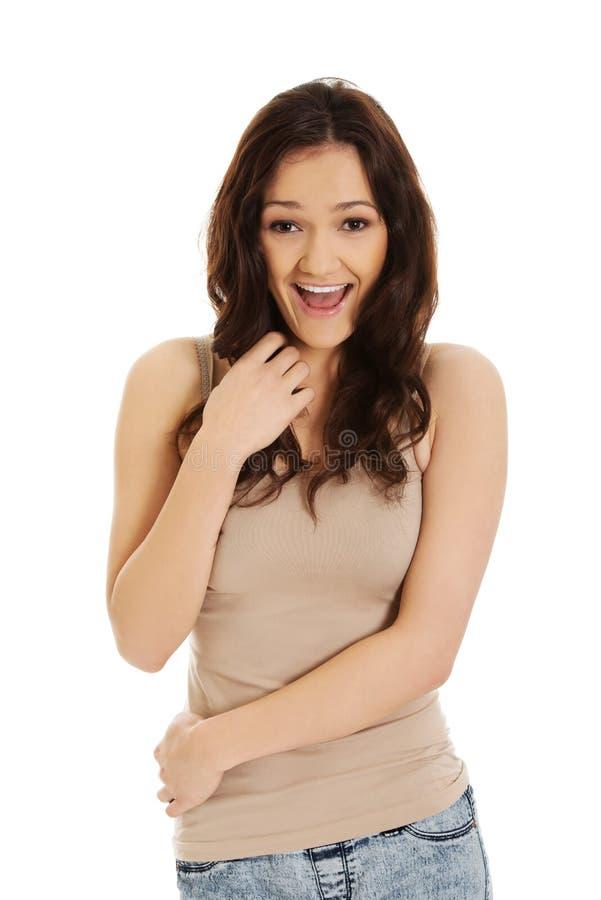 Jeune belle femme riante image libre de droits