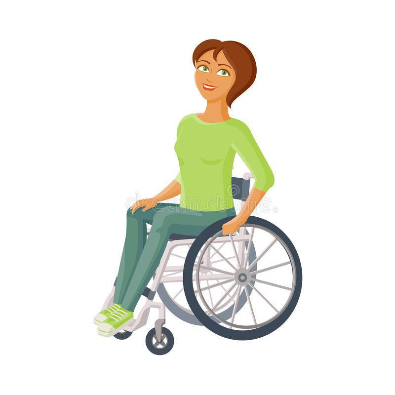 Jeune belle femme s'asseyant dans le fauteuil roulant illustration de vecteur