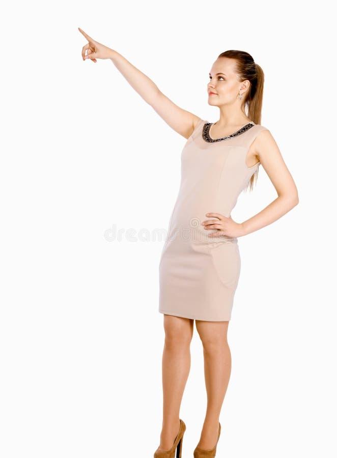 Jeune belle femme se dirigeant au copyspace, photos stock