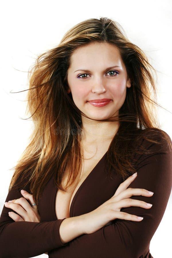 Jeune belle femme sexy sur le blanc photographie stock