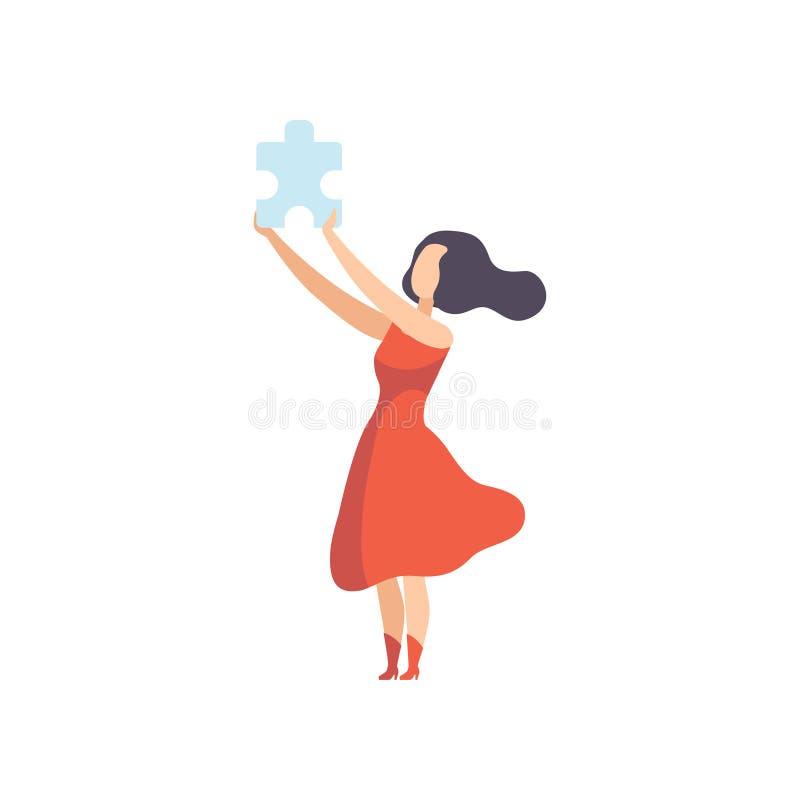 Jeune belle femme tenant l'élément de puzzle denteux, fille ayant l'illustration de vecteur d'idée sur un fond blanc illustration stock