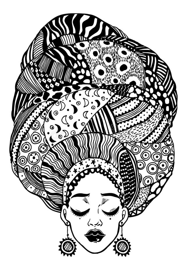 Jeune belle fille africaine ou indienne de mode urbaine avec le turban géométrique traditionnel, enveloppe principale illustration libre de droits