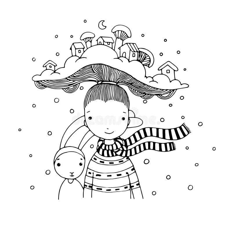 Jeune belle fille avec le chapeau intéressant illustration de vecteur