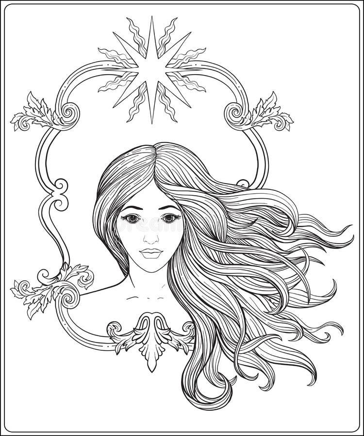 Jeune belle fille avec le long cheveu Ligne courante vecteur illustration de vecteur