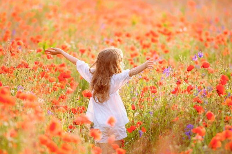 Jeune belle fille marchant et dansant par un champ de pavot, photographie stock libre de droits