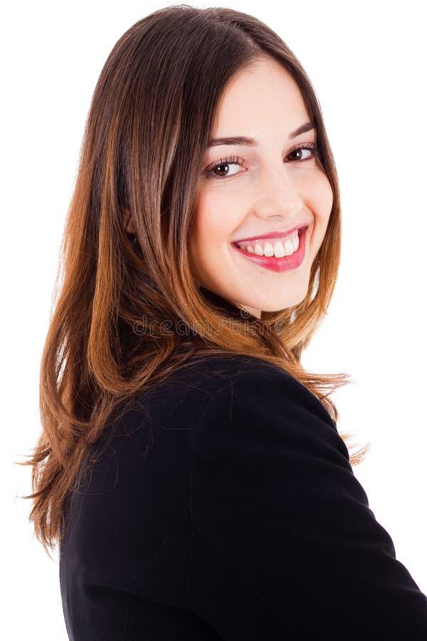 Jeune belle pose latérale de sourire modèle photo stock