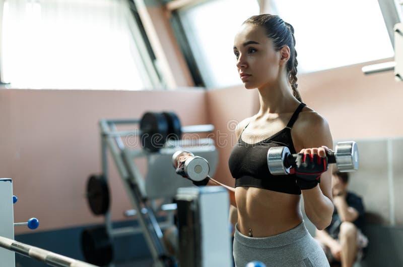 Jeune biceps sportif d'exersises de femme avec des dumbells dans un gymnase photo libre de droits