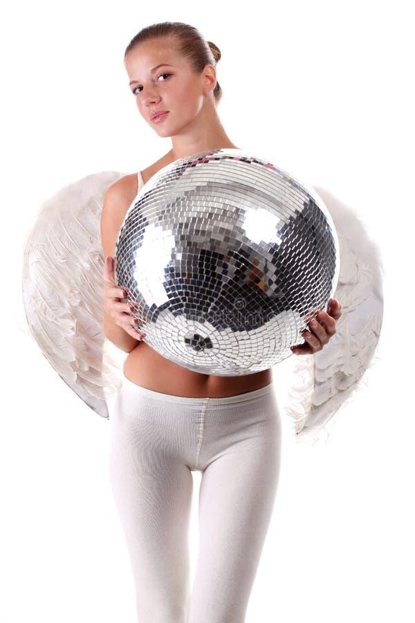 Jeune bille d'ange et de disco images stock