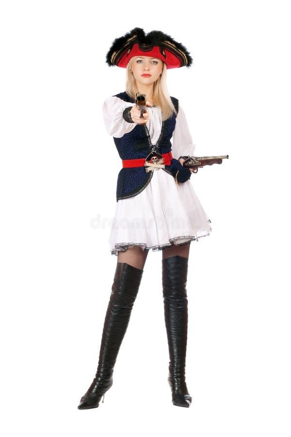 Jeune blonde attirante avec des canons images stock