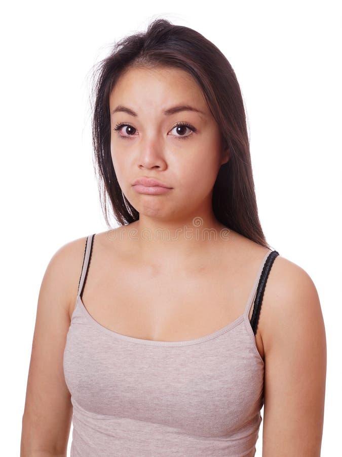 Jeune bouder asiatique triste de femme photos libres de droits