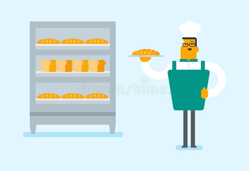 Jeune boulanger caucasien tenant un plateau avec du pain illustration libre de droits