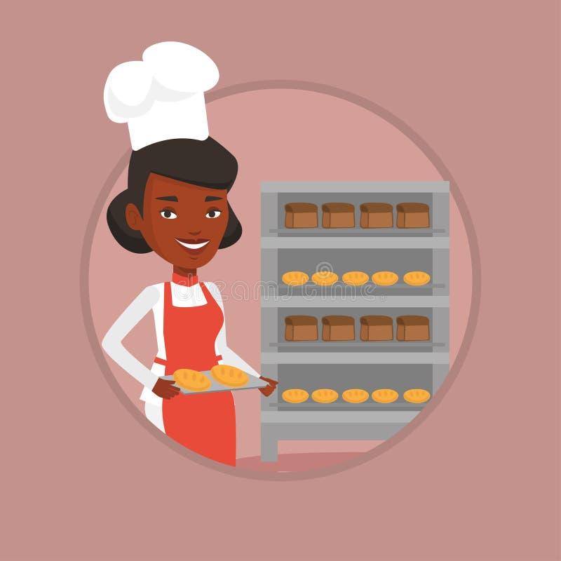 Jeune boulanger féminin heureux tenant le plateau du pain illustration libre de droits