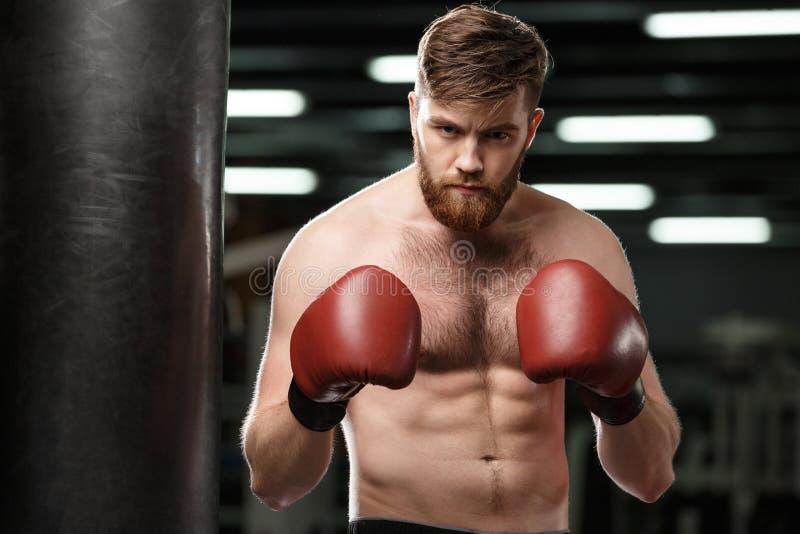 Jeune boxeur fort beau sérieux d'homme de sports photographie stock