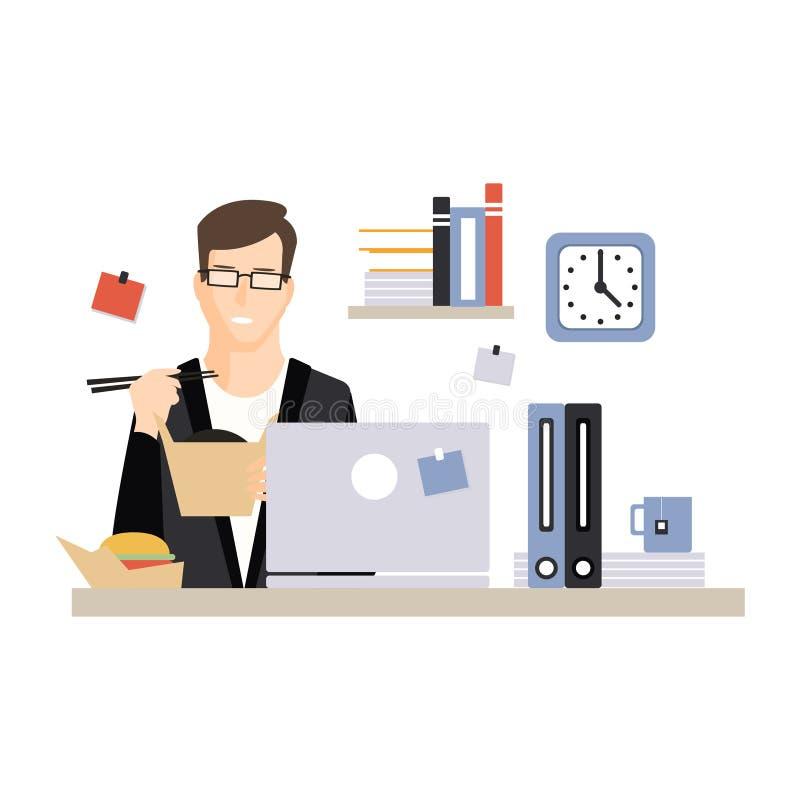 Jeune caractère d'homme d'affaires mangeant des aliments de préparation rapide sur son lieu de travail de bureau, vie quotidienne illustration de vecteur