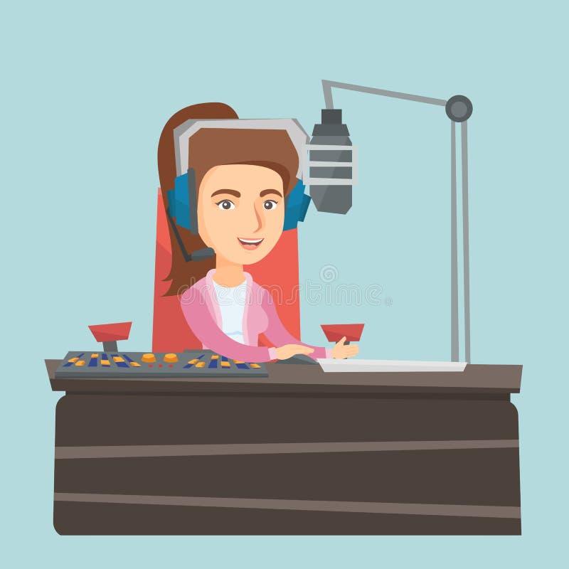 Jeune Caucasien féminin DJ travaillant à la radio illustration de vecteur
