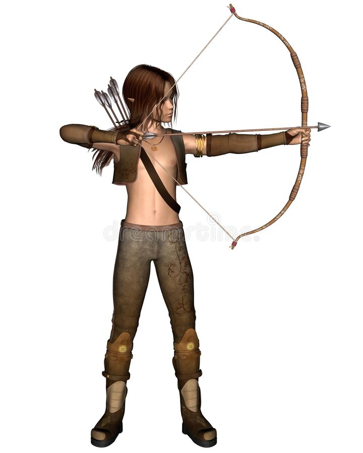 Jeune chasseur d'Elven avec la proue illustration de vecteur