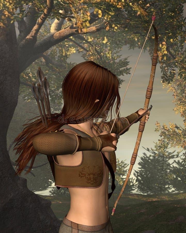 Jeune chasseur d'Elven dans la forêt illustration de vecteur