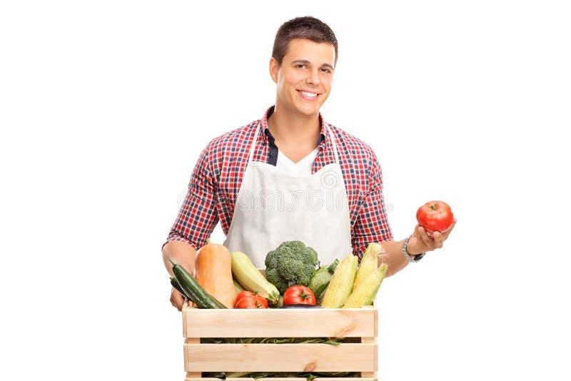 Jeune chef posant avec la caisse pleine des légumes image stock