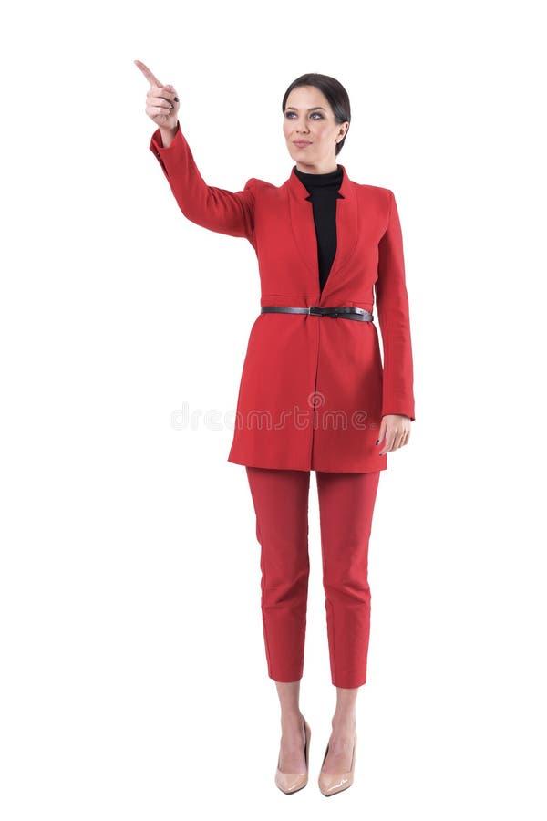 Jeune chef réussi attirant de femme d'affaires dirigeant le doigt montrant la manière photos stock