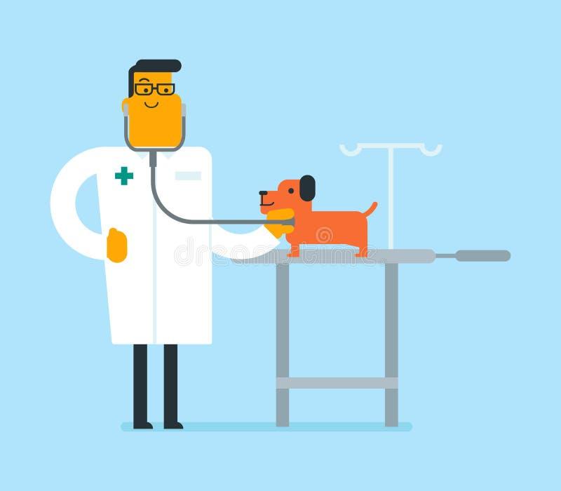Jeune chien de examen vétérinaire blanc caucasien illustration de vecteur