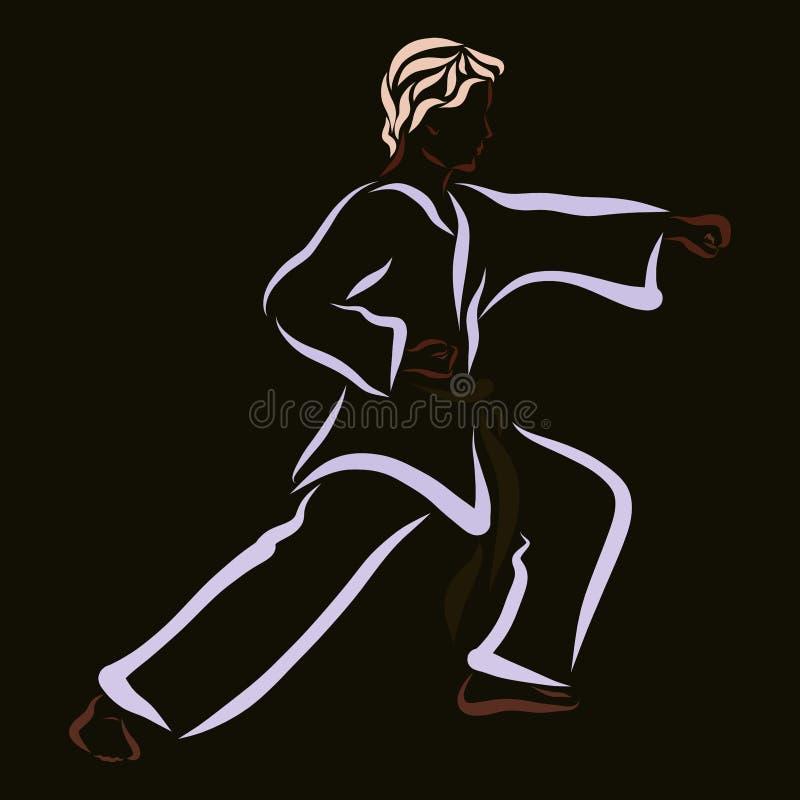 Jeune combattant, classe de karaté, modèle sur le fond noir illustration libre de droits