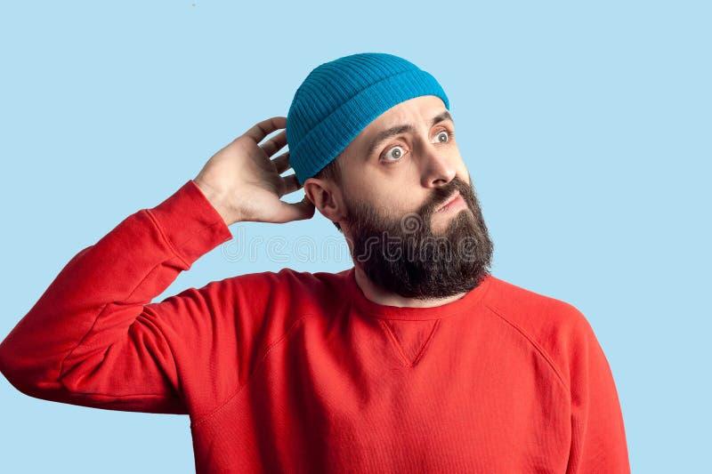 Jeune concept barbu émotif d'homme et d'expression du visage photos stock