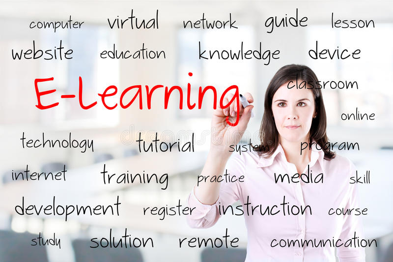 Jeune concept d'apprentissage en ligne d'écriture de femme d'affaires Fond de bureau photos stock
