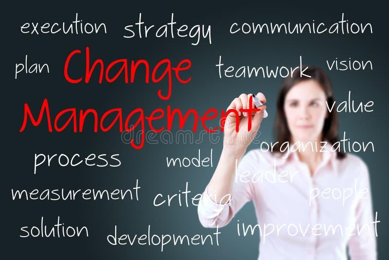 Jeune concept de gestion de changement d'écriture de femme d'affaires photographie stock