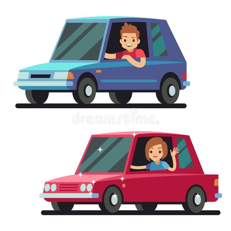 Jeune conducteur heureux d'homme et de femme conduisant le concept plat de vecteur de voitures illustration stock