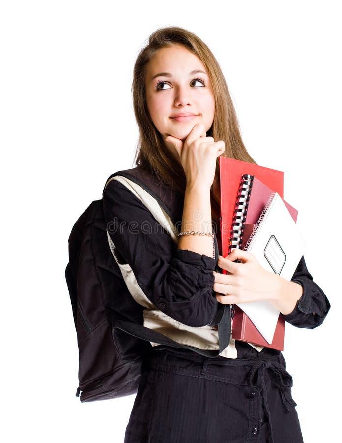 Jeune considérer mignon de fille d'étudiant. photographie stock libre de droits