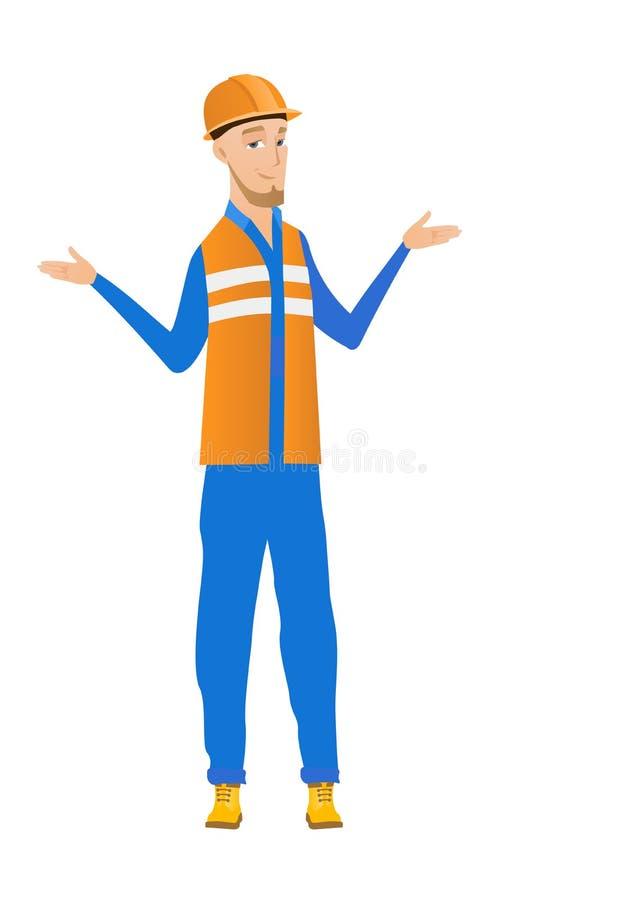 Jeune constructeur caucasien confus avec les bras répandus illustration stock