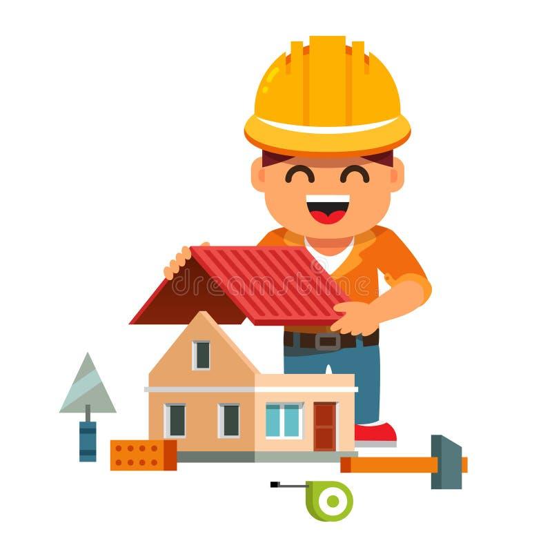 Jeune constructeur de maison dans la maison de bâtiment de masque illustration stock