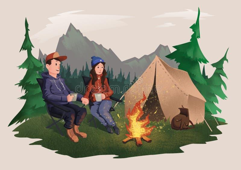 Jeune couples, homme et femme s'asseyant autour du feu de camp dans la forêt augmentant, récréation extérieure active D'isolement illustration de vecteur