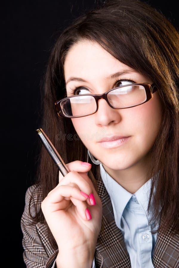 Jeune crayon lecteur de fixation de professeur photographie stock libre de droits