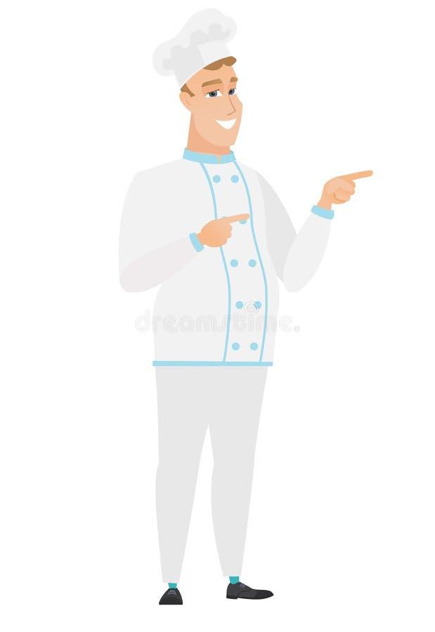Jeune cuisinier caucasien de chef indiquant le côté illustration stock