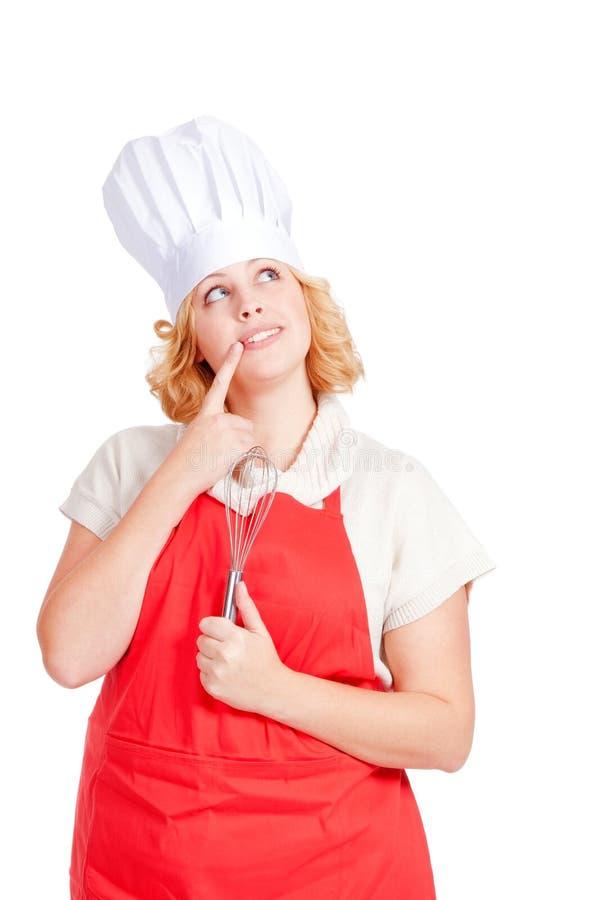 Jeune cuisinier féminin de chef photo stock
