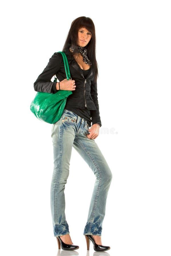 Jeune dame avec la bourse image stock