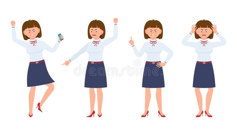 Jeune dame de bureau fâchée, soumis à une contrainte, désespéré illustration de vecteur