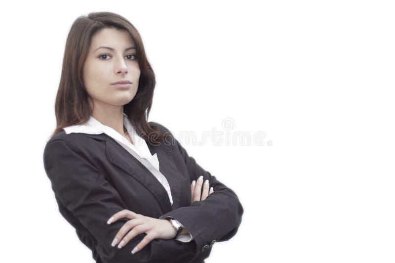 Jeune dame regardant dans l'avant photographie stock libre de droits