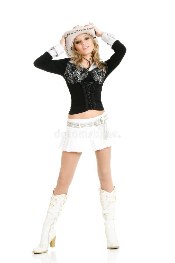 Jeune danse de femme de cow-girl photo libre de droits