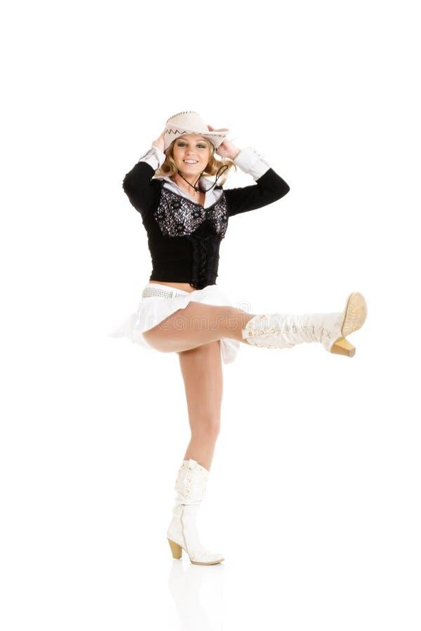 Jeune danse de femme de cow-girl photo stock